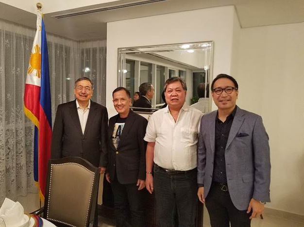 Philippine Ambassador to the United Arab Emirates Constancio R. Vingno Jr. (2nd from left), hosted a dinner in honor of Special Envoy of the Pres. to the GCC, Ambassador Amable R. Aguiluz (1st from left)