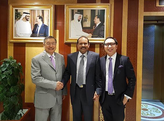 Special Envoy of the Pres. to the GCC, Ambassador Amable R. Aguiluz and Honorary Consul of the Kingdom of Bahrain to the Philippines, Dr. Amable C. Aguiluz IX with His Excellency Yussuf Ali M.A. (center), Chairman and Managing Director, LuLu Group International. Photo taken during their meeting at the LuLu Group Headquarters in Abu Dhabi